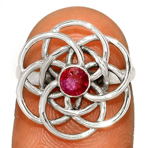 Mandala - Ruby - India 925 Sterling Silver Ring XGB Jewelry s.5.5 BR25153