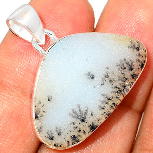 Natural White Agate Druzy 925 Sterling Silver Pendant XGB Jewelry BP31885