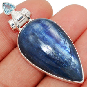 14g Kyanite - Brazil & Blue Topaz 925 Sterling Silver Pendant XGB Jewelry BP30950