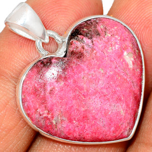 Heart - Pink Thulite - Norway 925 Sterling Silver Pendant XGB Jewelry BP30629