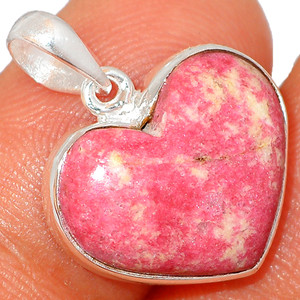 Heart - Pink Thulite - Norway 925 Sterling Silver Pendant XGB Jewelry BP43555
