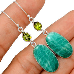 Russian Amazonite & Peridot 925 Sterling Silver Earrings XGB Jewelry BE25500