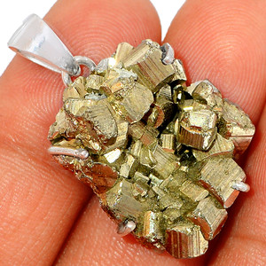 13g Peruvian Golden Pyrite 925 Sterling Silver Pendant XGB Jewelry BP39250
