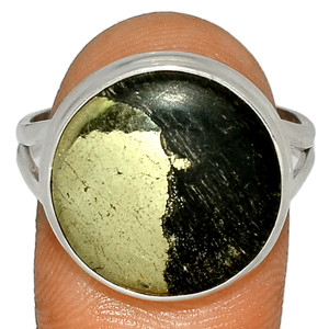 Pyrite In Magnetite - Healer's Gold 925 Silver Ring Jewelry s.10.5 BR39879