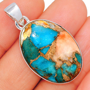 Spiny Oyster & Arizona Turquoise 925 Sterling Silver Pendant XGB  Jewelry BP47365