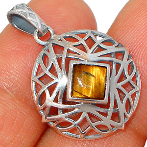 Tiger Eye - South Africa 925 Sterling Silver Pendant XGB  Jewelry BP46942 216I