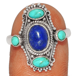 Lapis - Afghanistan & Blue Mohave Turquoise 925 Silver Ring s.8.5 BR36606 276G