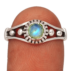 Rainbow Moonstone - India 925 Sterling Silver Ring XGB-Jewelry s.9 BR42005 207I