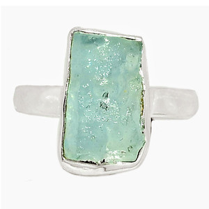 Aquamarine Rough 925 Sterling Silver Ring XGB-Jewelry s.7 BR41720