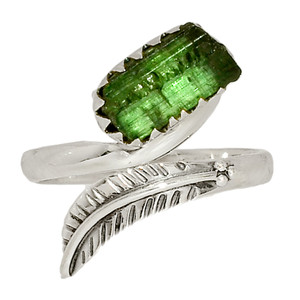 Eagle Feather - Green Tourmaline Point 925 Silver Ring XGB Jewelry s.7 BR43468