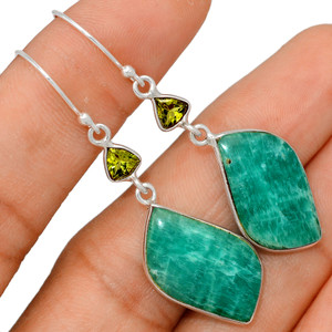 Russian Amazonite & Peridot 925 Sterling Silver Earrings XGB Jewelry BE25499