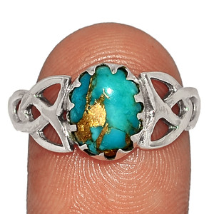 Celtic - Copper Blue Turquoise 925 Sterling Silver XGB Jewelry Ring s.10 BR37479