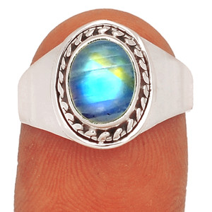 Rainbow Moonstone - India 925 Sterling Silver Ring XGB Jewelry s.8 BR36660