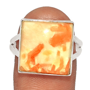 Orange Scolecite 925 Sterling Silver XGB Jewelry Ring s.8.5 BR38070