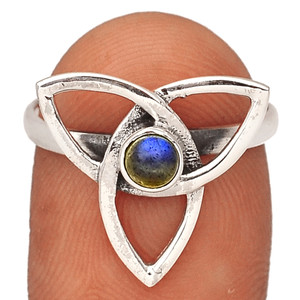 Celtic - Labradorite - Madagascar 925  Silver XGB Jewelry Ring s.8 BR37688