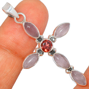 Cross - Rose Quartz - Madagascar & Garnet 925 Silver Pendant XGB-Jewelry BP45322