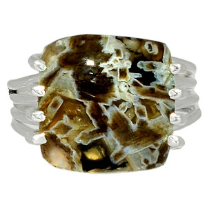 Tube Agate - Turkish 925 Sterling Silver Ring Jewelry s.9 BR40034