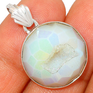 Angel Aura Druzy 925 Sterling Silver Pendant XGB Jewelry BP42434