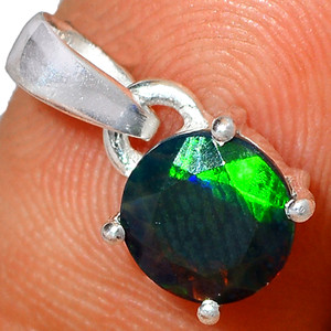 Faceted Chalama Black Opal 925 Sterling Silver Pendant XGB Jewelry BP39522