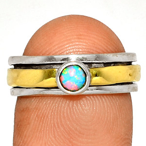 Meditation - Fire Opal  Sterling Silver Ring XGB- s.7 BR41174