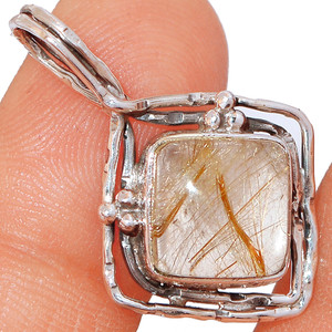 Golden Rutile - Brazil 925 Sterling Silver Pendant XGB-Jewelry BP44311 205I