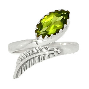 Eagle Feather - Peridot 925 Silver Ring XGB-Jewelry s.6 BR41647