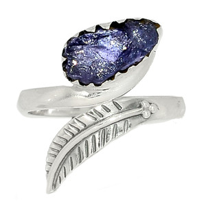 Eagle Feather - Tanzanite Crystal - Tanzania 925 Silver Ring s.6.5 BR41642