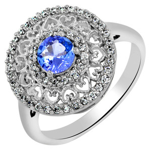 SSS 0.6cts Genuine Tanzanite & Cubic Zirconia 925 Sterling Silver Ring s.6 TZR1002-6