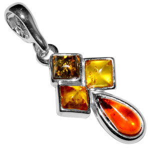 1.91g Authentic Baltic Amber 925 Sterling Silver Pendant Jewelry A1794