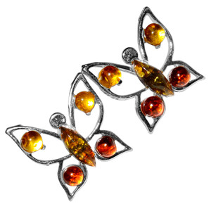2.28g Butterfly Authentic Baltic Amber 925 Sterling Silver Earrings Jewelry A8490