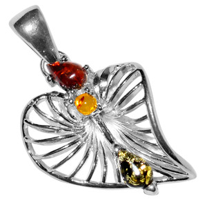 3.79g Authentic Baltic Amber 925 Sterling Silver Pendant Jewelry A478