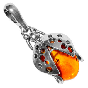 2.28g Authentic Baltic Amber 925 Sterling Silver Pendant Jewelry A386