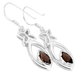 Smokey Quartz 925 Sterling Silver Earrings Jewelry E2176S