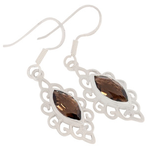 Smokey Quartz 925 Sterling Silver Earrings Jewelry E2177S