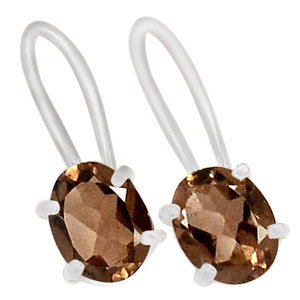 SSS Smokey Quartz 925 Sterling Silver Earrings Jewelry E2205S