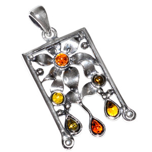 5.9g Authentic Baltic Amber 925 Sterling Silver Pendant Jewelry A350