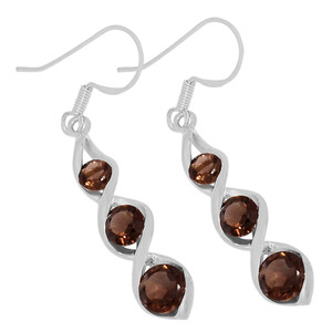 Smokey Quartz 925 Sterling Silver Earrings Jewelry E2185S