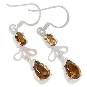 Smokey Quartz 925 Sterling Silver Earrings Jewelry E2183S