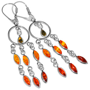9.32g Authentic Baltic Amber 925 Sterling Silver Earrings Jewelry A8187
