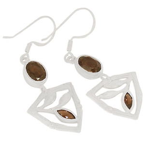 Smokey Quartz 925 Sterling Silver Earrings Jewelry E2180S