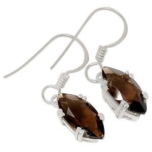 Smokey Quartz 925 Sterling Silver Earrings Jewelry E2182S