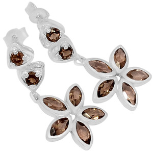Smokey Quartz 925 Sterling Silver Earrings Jewelry E2199S