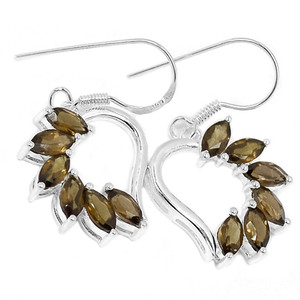 Smokey Quartz 925 Sterling Silver Earrings Jewelry E2202S