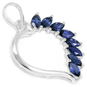 Iolite 925 Sterling Silver Pendant Jewelry P1379I