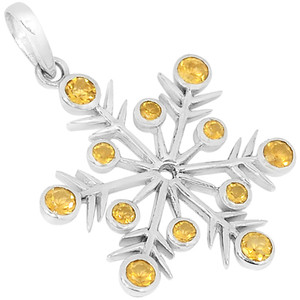 Citrine 925 Sterling Silver Pendant Jewelry P1418C