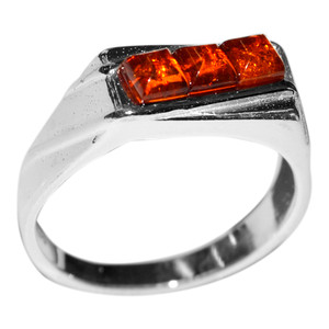4.3g Authentic Baltic Amber 925 Sterling Silver Ring Jewelry s.8 A7185S8