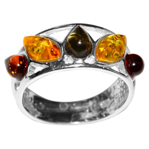 3.33g Authentic Baltic Amber 925 Sterling Silver Ring Jewelry s.8 A7172S8