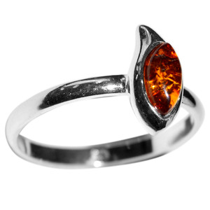 1.68g Authentic Baltic Amber 925 Sterling Silver Ring Jewelry s.5.5 A7474S55