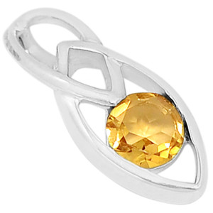 Citrine 925 Sterling Silver Pendant Jewelry P1443C