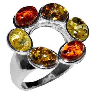 5.03g Authentic Baltic Amber 925 Sterling Silver Ring Jewelry s.5 A7171S5